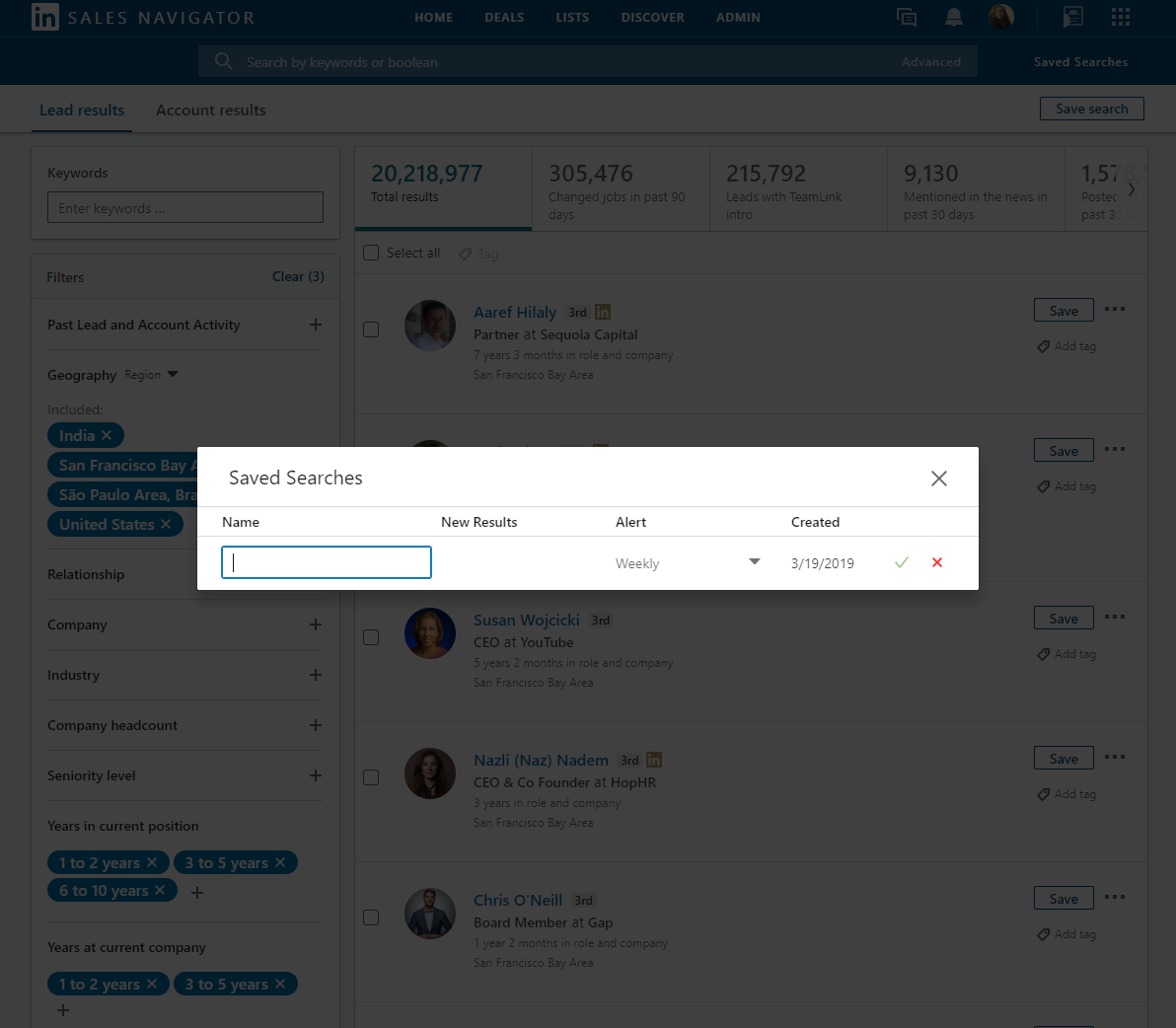 how to save a teamlink search in linkedin sales navigator