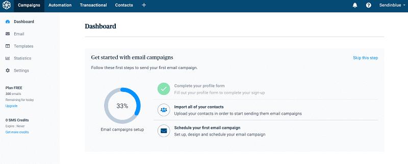 screenshot of Sendinblue dashboard