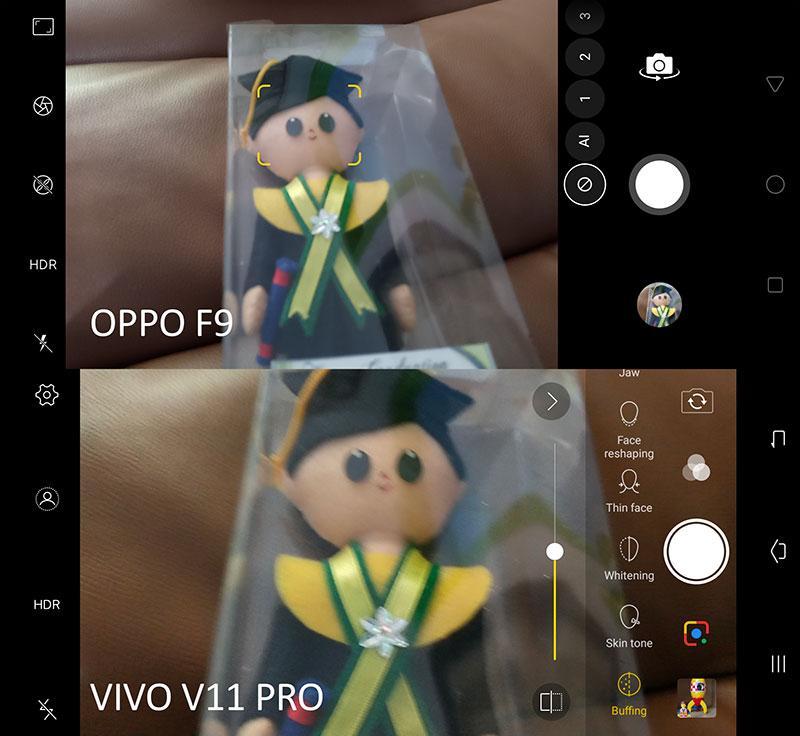 Menu kamera depan Oppo F9 dan Vivo V11 Pro
