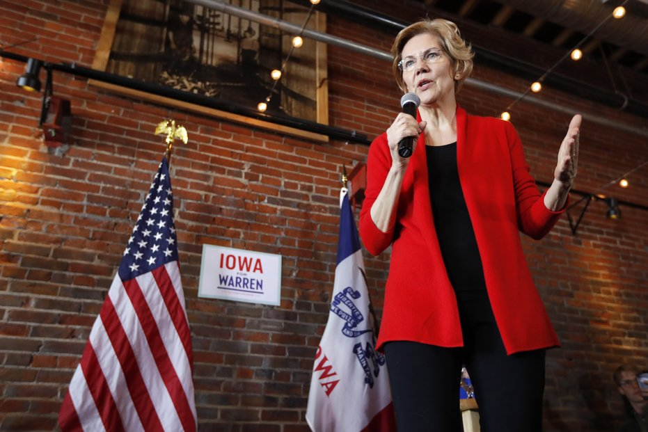 2020 Democratic presidential candidate Sen. Elizabeth Warren speaks to local residents during an organizing event Mar. 1, 2019, in Dubuque, Iowa. Warren is proposing to break up the large tech companies like Amazon, Google and Facebook on Mar. 8.