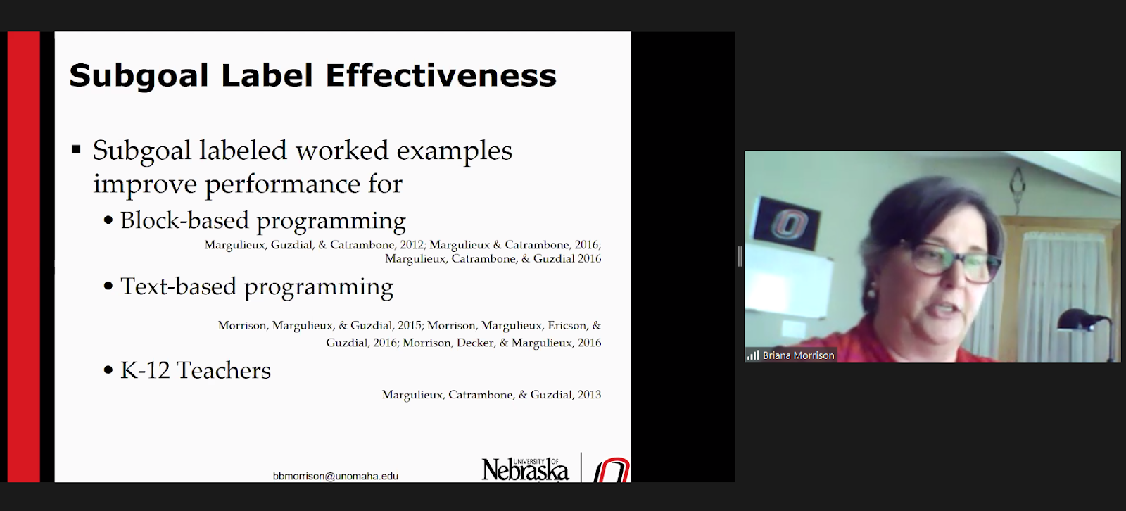 Screenshot of Dr Briana Morrison's research seminar talk