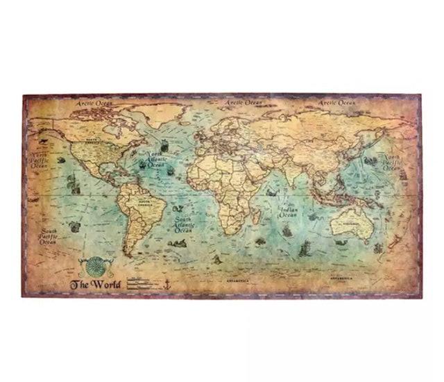 3. โปสเตอร์แผนที่โลกสไตล์วินเทจ