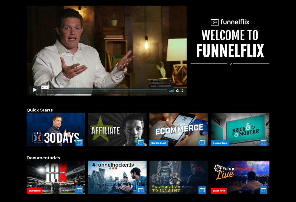 clickfunnels review of the funnel flix members area