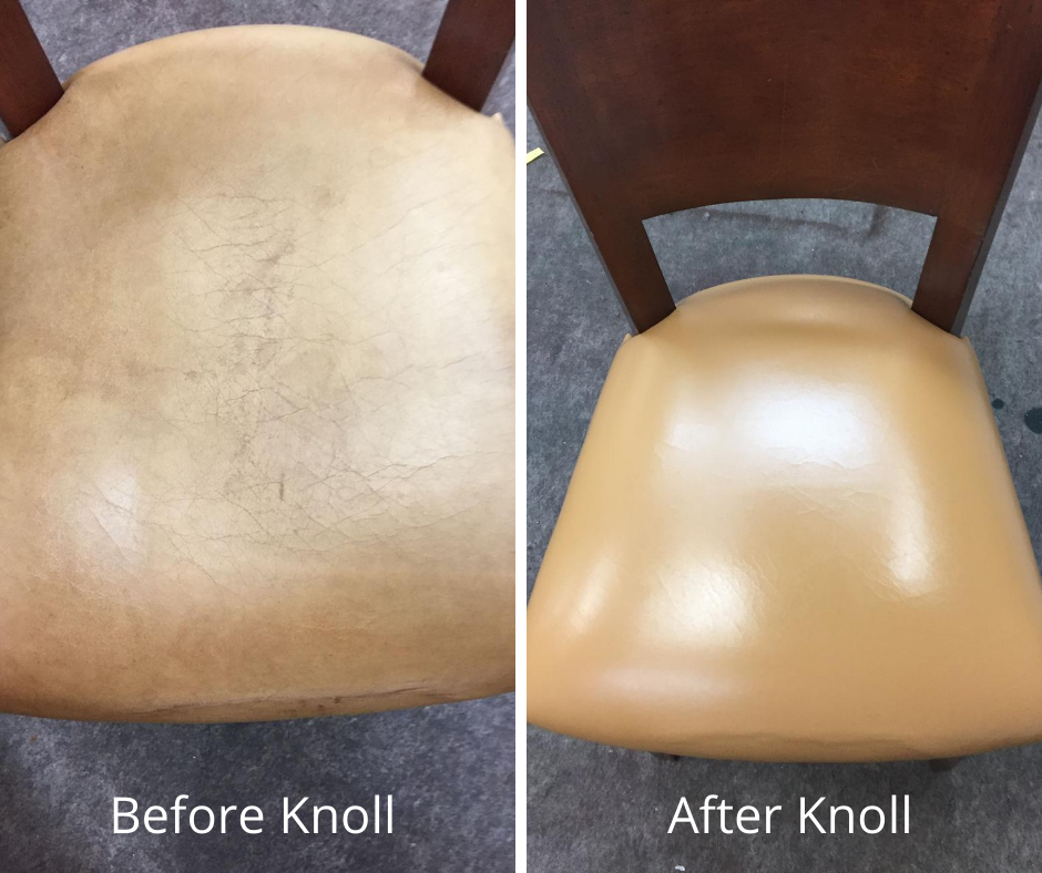 Leather chair repair before and after, Hammond Knoll