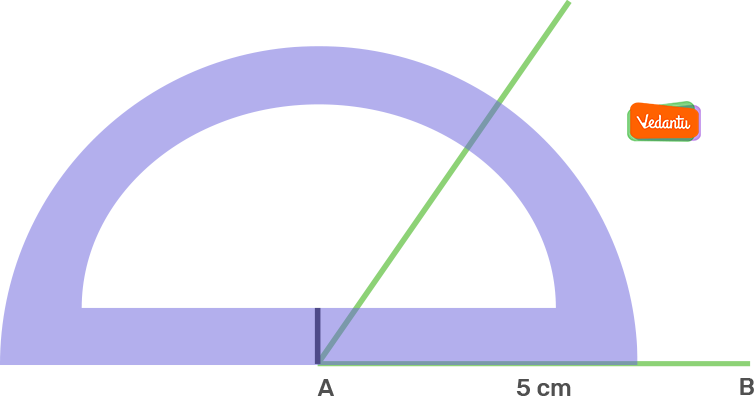 Taking A as centre, draw an angle of 60° using a protractor