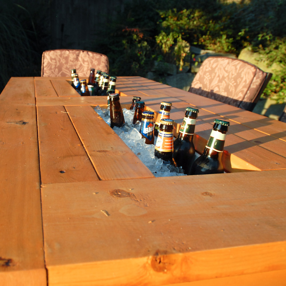 wooden pallet table with beer cooler