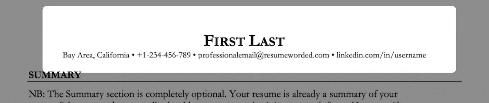 An example of a resume header for an experienced professional