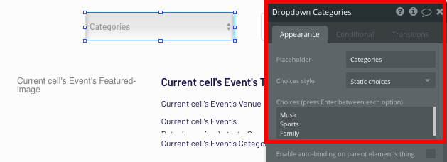 Configuring a list of dropdown choices