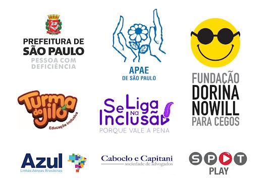 Logos das instituições apoiadoras - APAE São Paulo, Prefeitura de São Paulo - Pessoa com Deficiência, Fundação Dorina Nowill Para Cegos, Turma do Jiló, Azul Linhas Aéreas Brasileiras, SPOT PLAY, Programa Se Liga Na Inclusão e Caboclo e Capitani Advogados!
