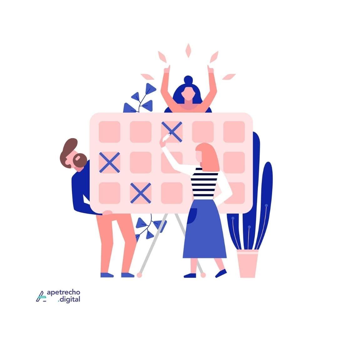 Ilustração com três pessoas segurando e riscando uma tabela gigante, felizes por estarem organizadas