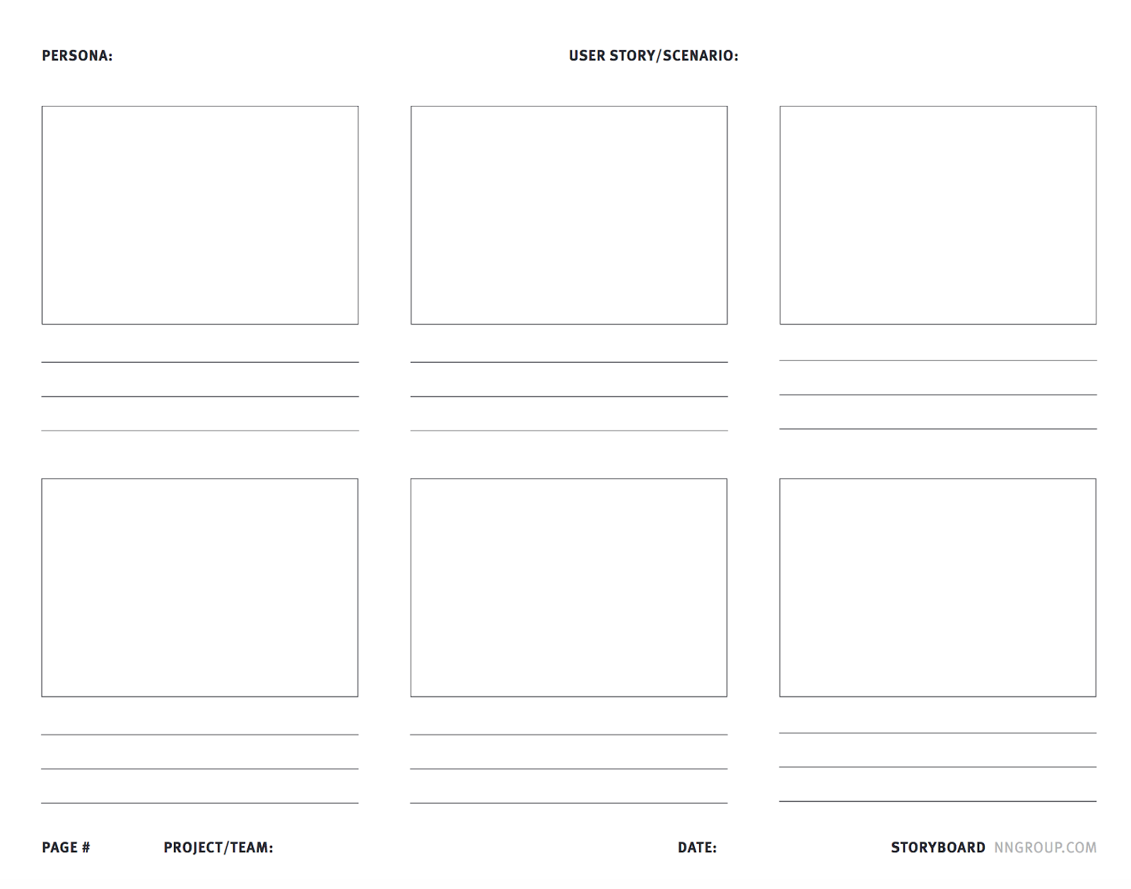 A blank UX storyboard template by NN.
