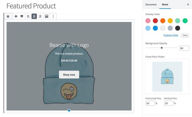 Nuevo selector de puntos focales en el bloque de productos destacados
