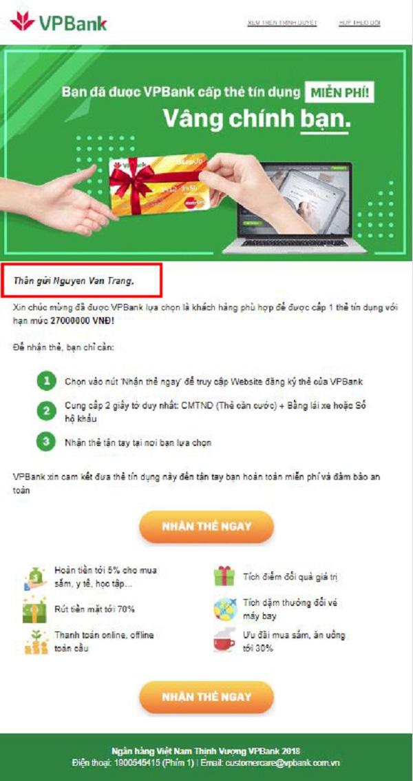 Mẫu email marketing của ngân hàng