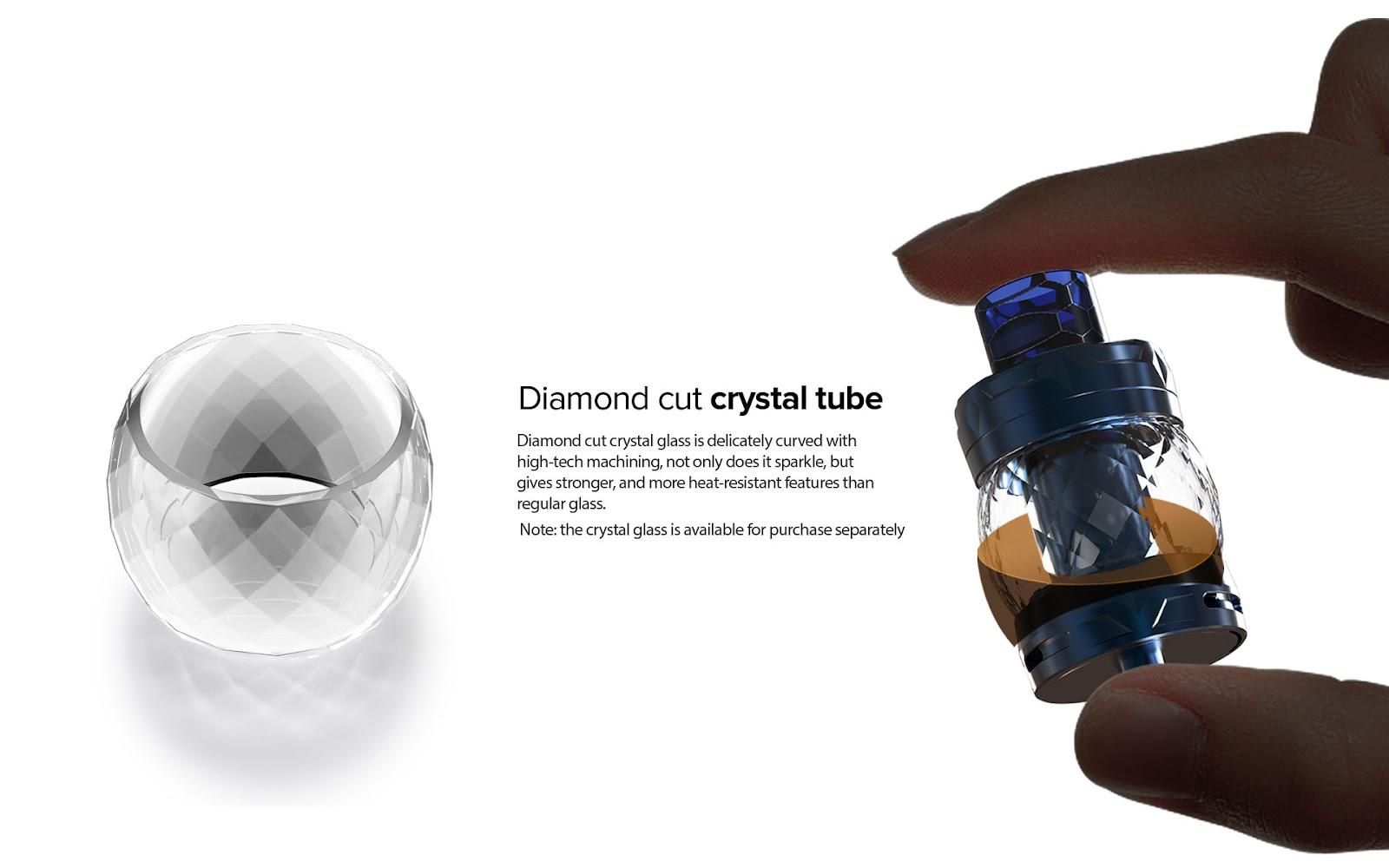 Diamond cut crystal tube