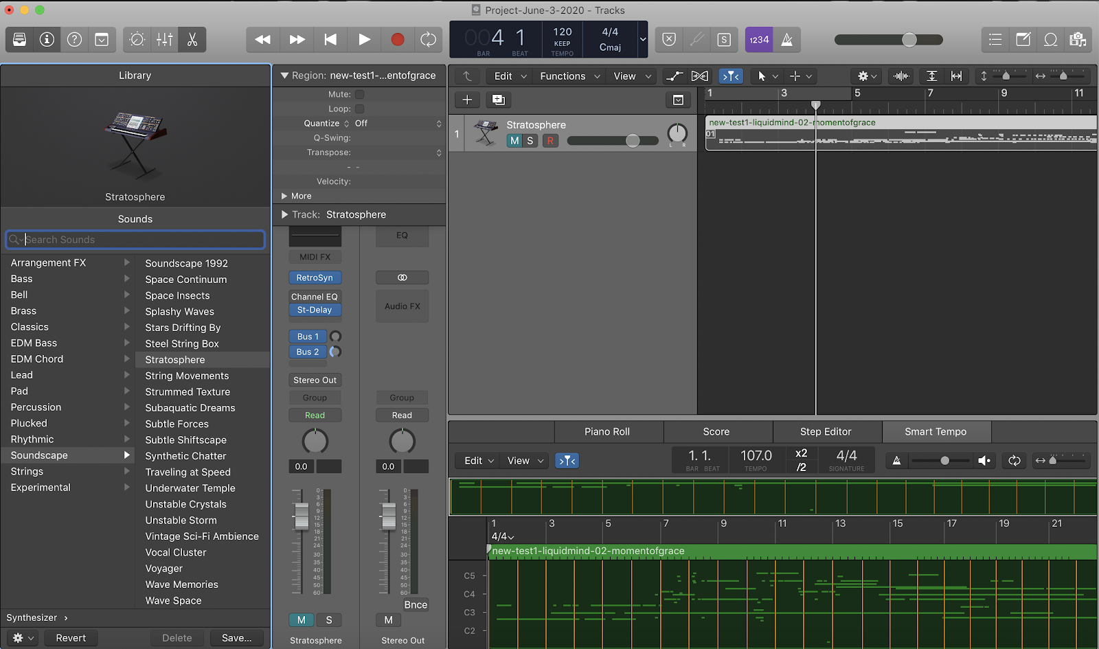 screenshot of a project in logicpro