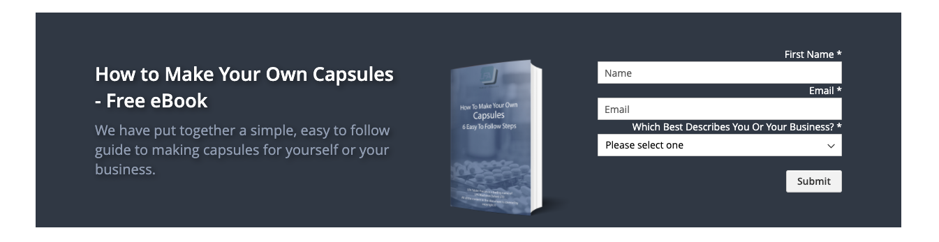 """Ad form titled """"How to Make Your Own Capsules - Free eBook"""""""