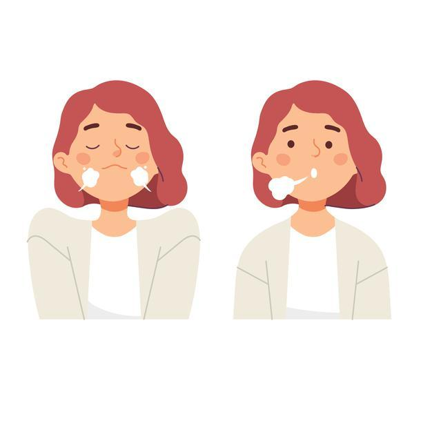 Women doing inhale exhale breath exercise for calm stress relief Free Vector