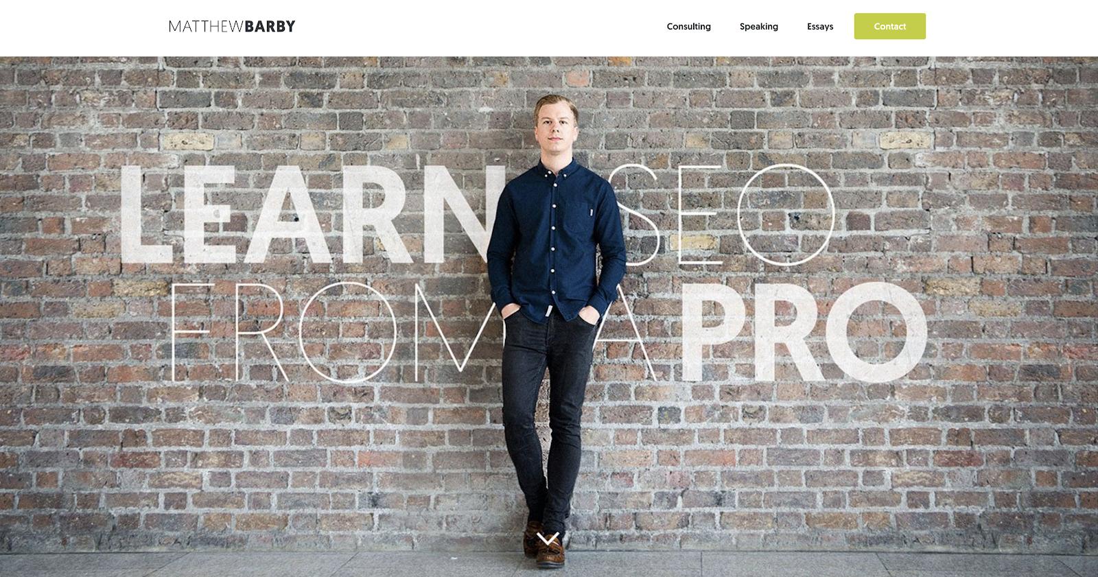 Matthew Barby homepage screengrab from freelancer seo website