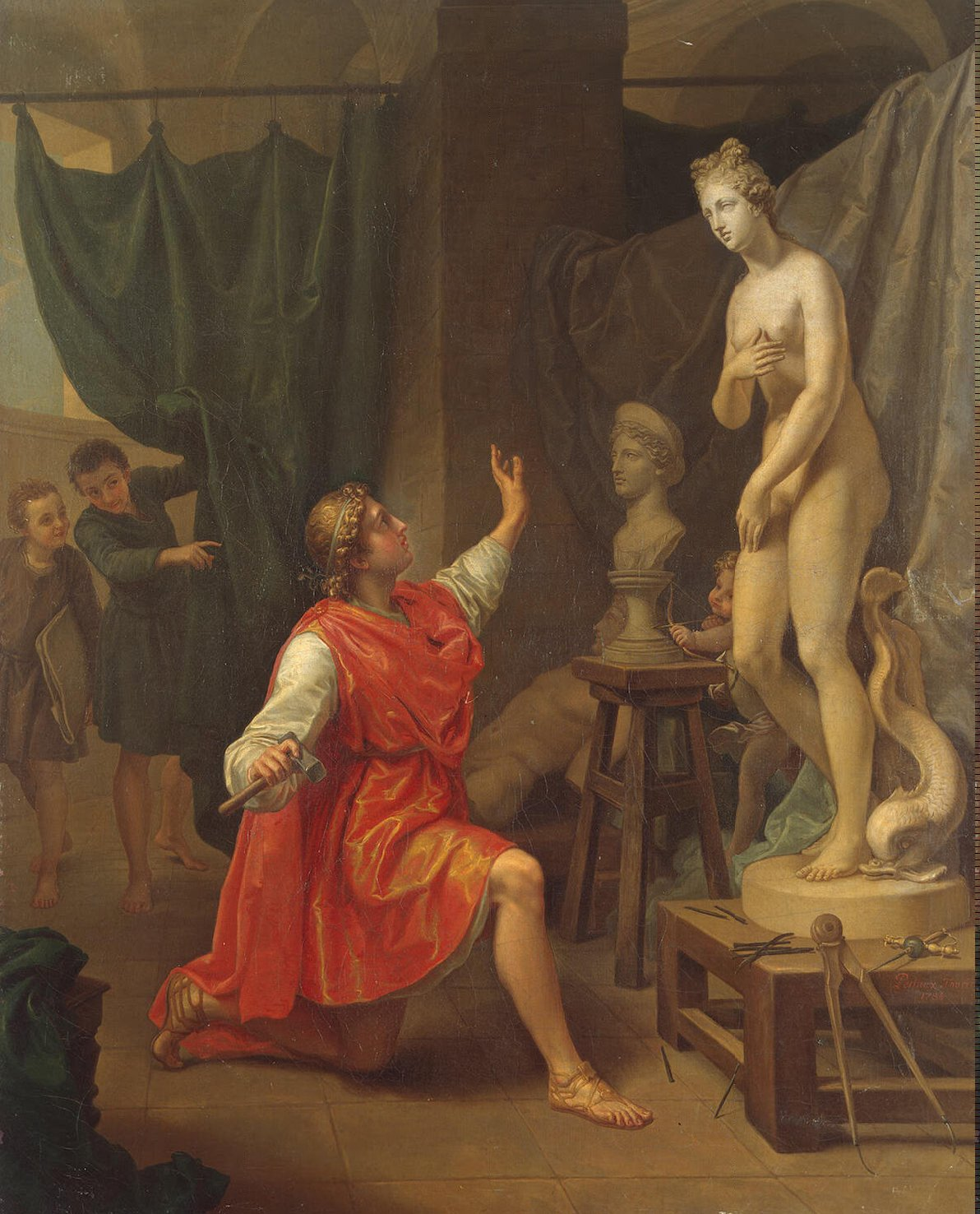 Pygmalion and Galatea depicted in a painting by Laurent Pécheux from the 1700s.