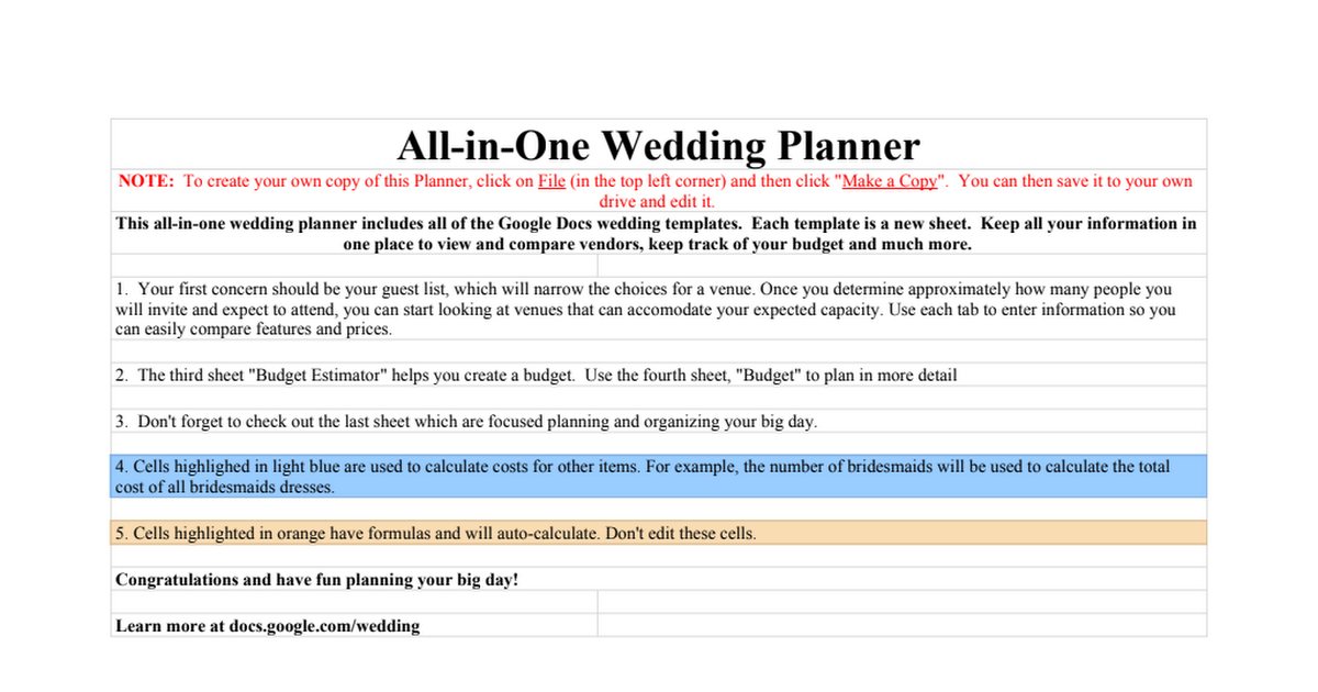 copy of wedding all in one wedding planner google sheets