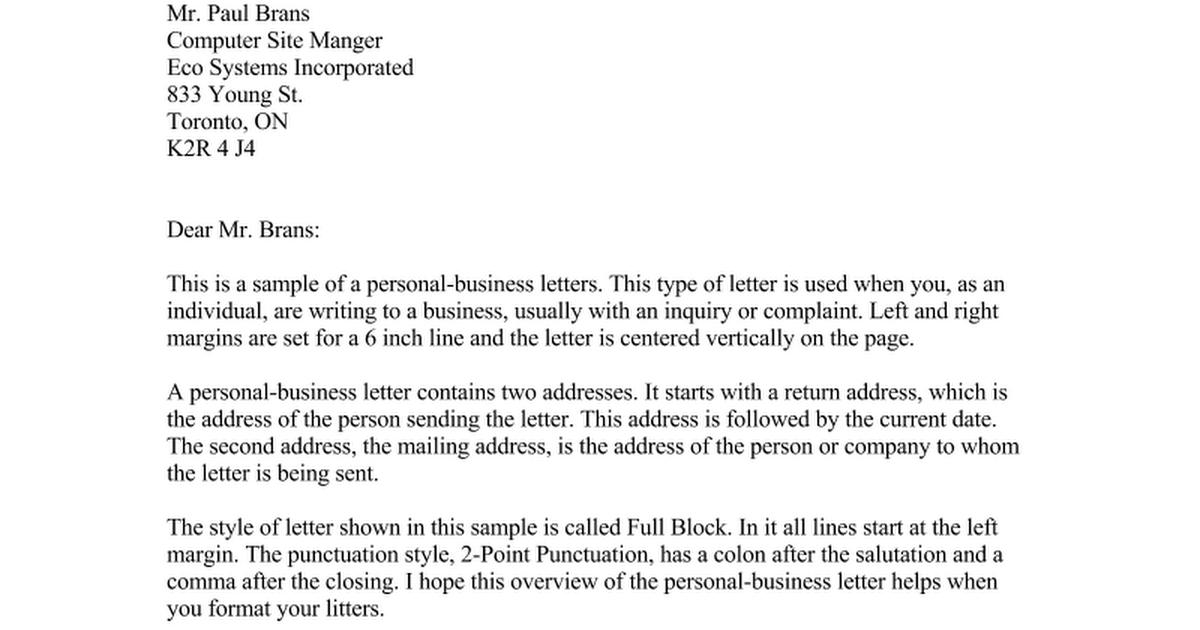 Personal Business Letter - Google Docs