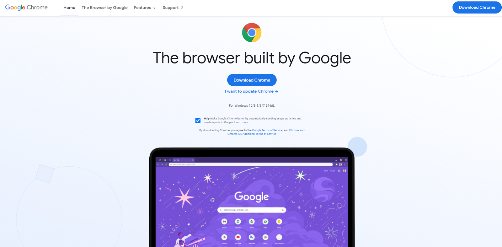 Google Chrome official Download Page