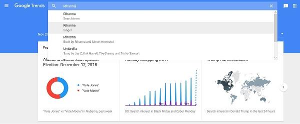Công cụ tìm kiếm từ khóa Google Trend hiện hiển thị dữ liệu cho tìm kiếm trên Youtube