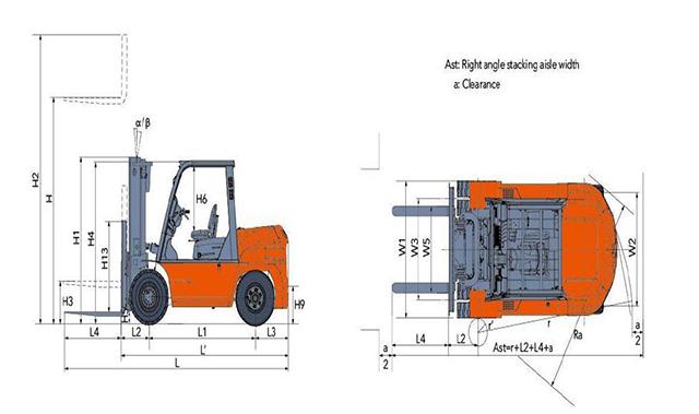 Thông số kỹ thuật xe nâng to 5 tấn