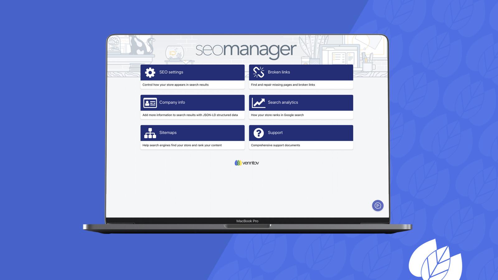 Intuitive SEO Manager desktop admin interface