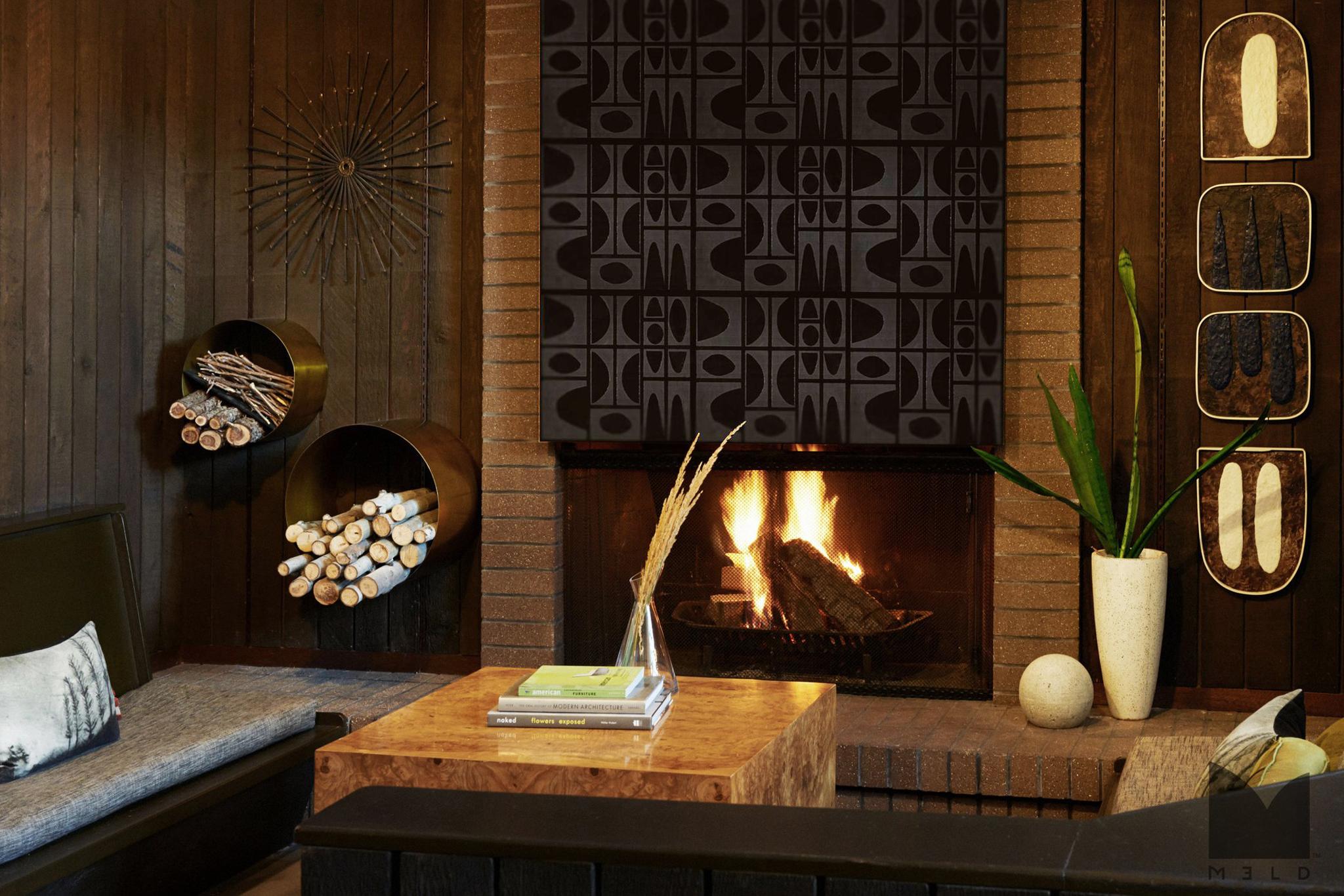 Unique black tile fireplace surround
