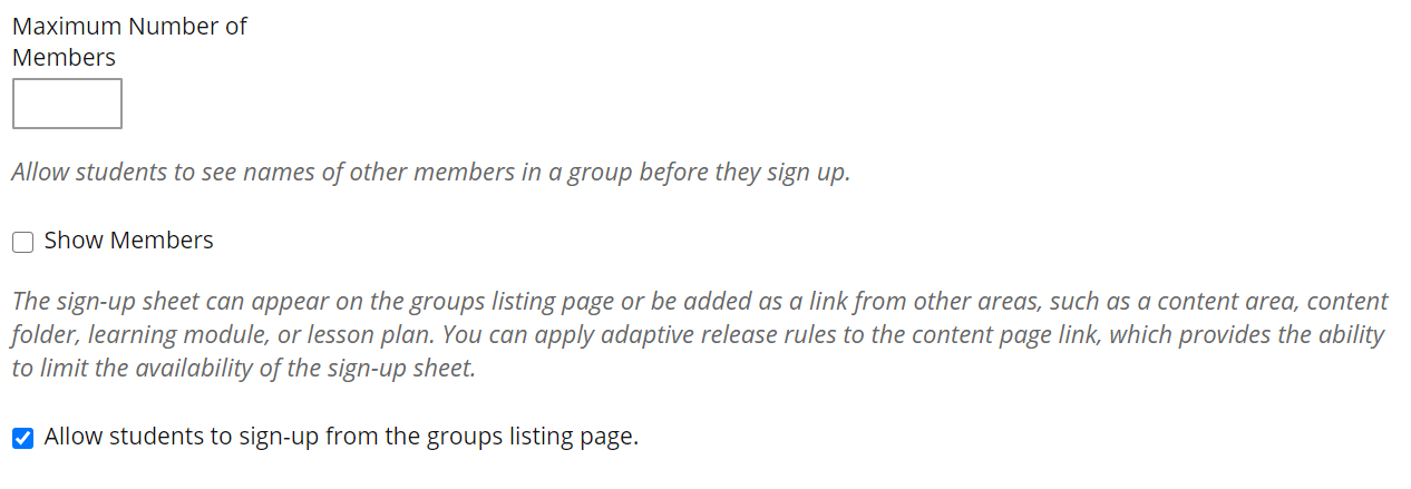 Screenshot of Create Self-Enrollment Group pop-up window.
