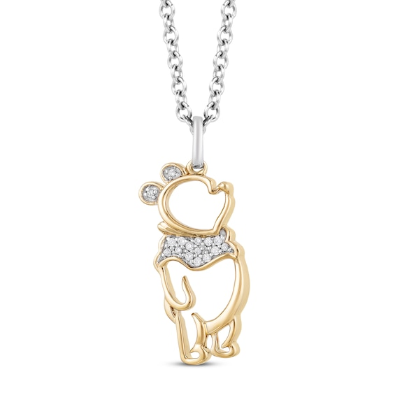 Disney Treasures Winnie the Pooh Diamond Necklace 1/20 ct tw Sterling Silver/10K Yellow Gold