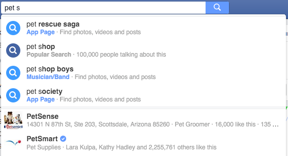 facebook local search results