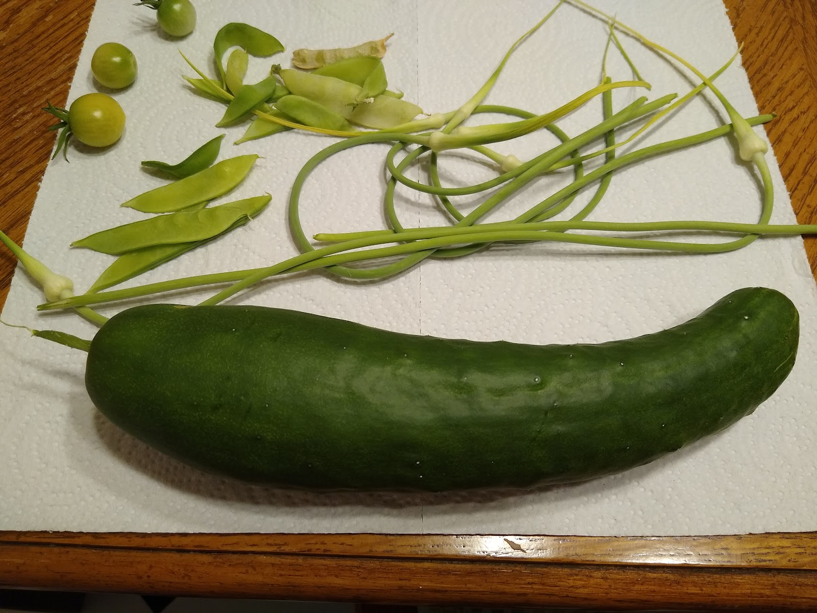 homegrown cucumber, garlic scapes, tomatoes and pea pods picture
