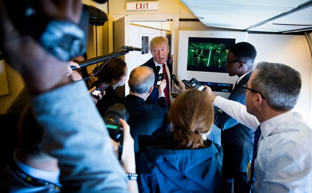 Trump's plane and reporters, Doug Mills/The New York Times