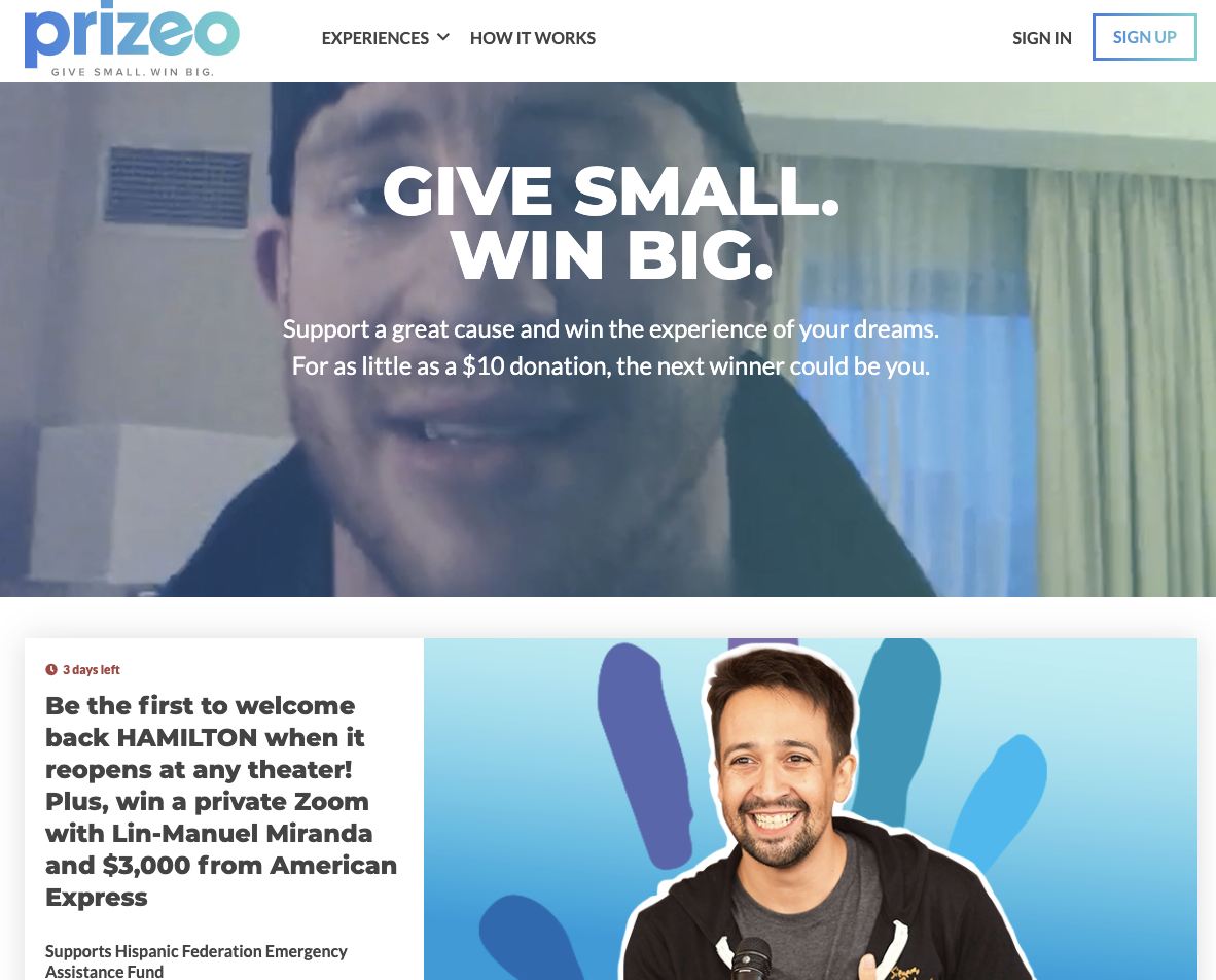 Prizeo lets you create amazing sweepstakes that people can enter by making a small donation