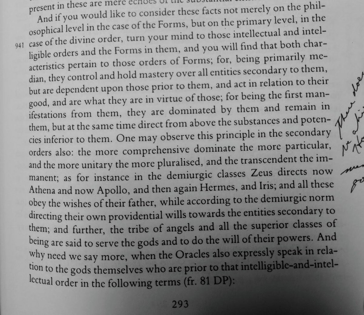 A passage about gods, hierarchy, who serves whom in the divine orders.