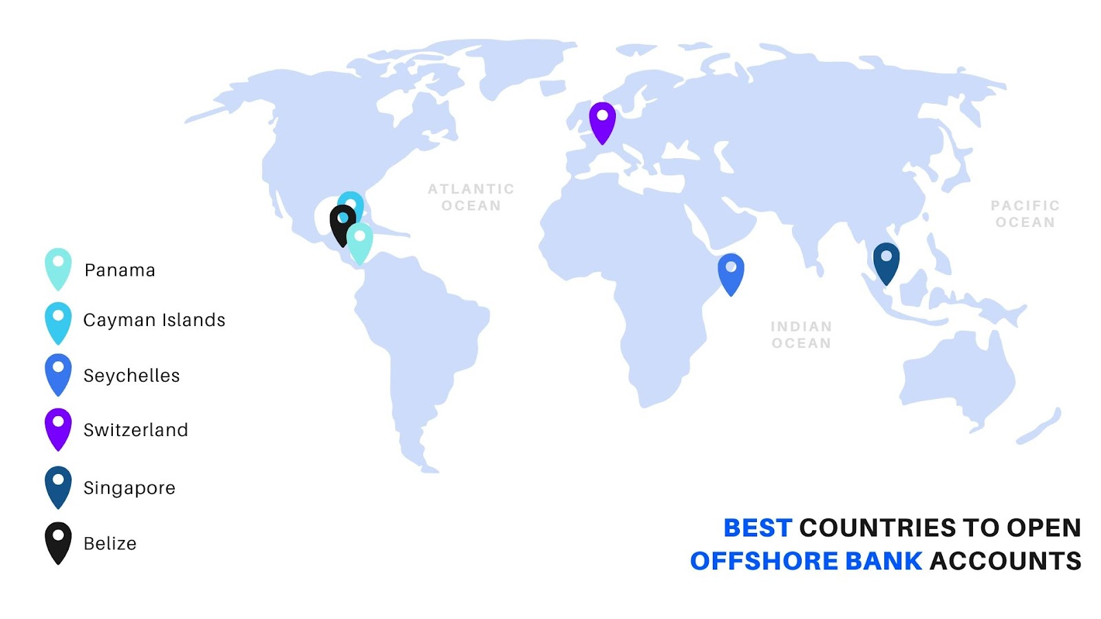 Best Offshore Bank Accounts: Map indicating Panama, Cayman Islands, Seychelles, Switzerland, Singapore, Belize