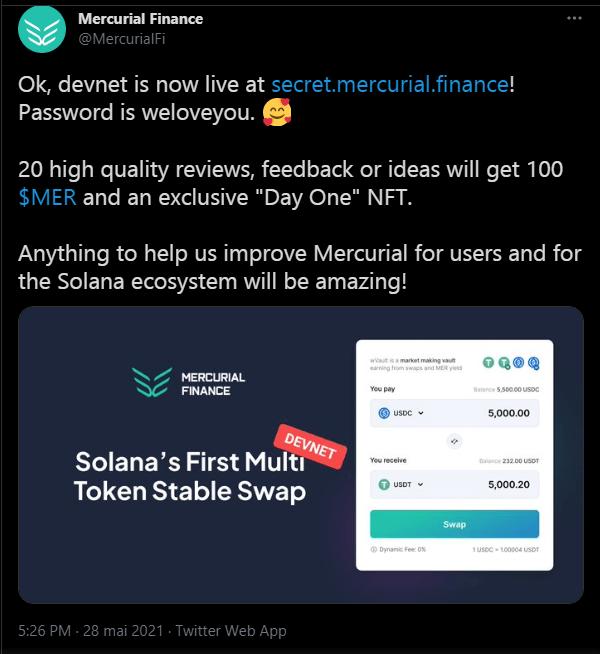 Mercurial annance sur twitter le lancement de son Devnet sur la blockchain Solana