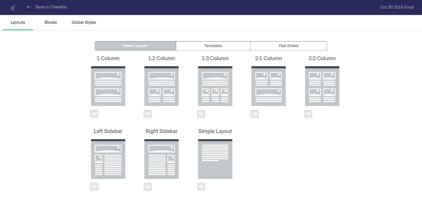 benchmark blank layouts