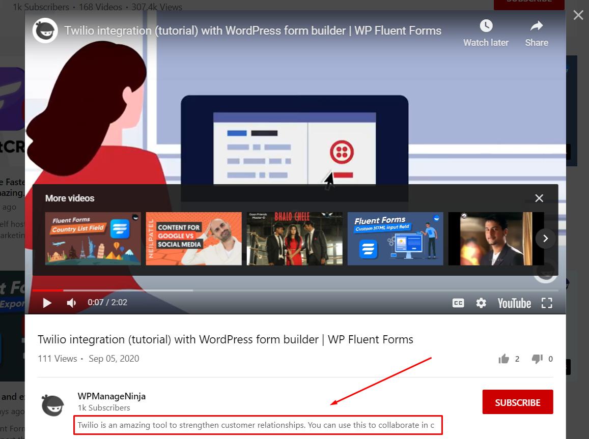 YouTube settings description