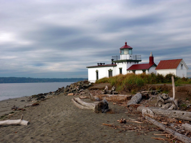 West Point Lighthouse in Discovery Park  overlooking Puget Sound
