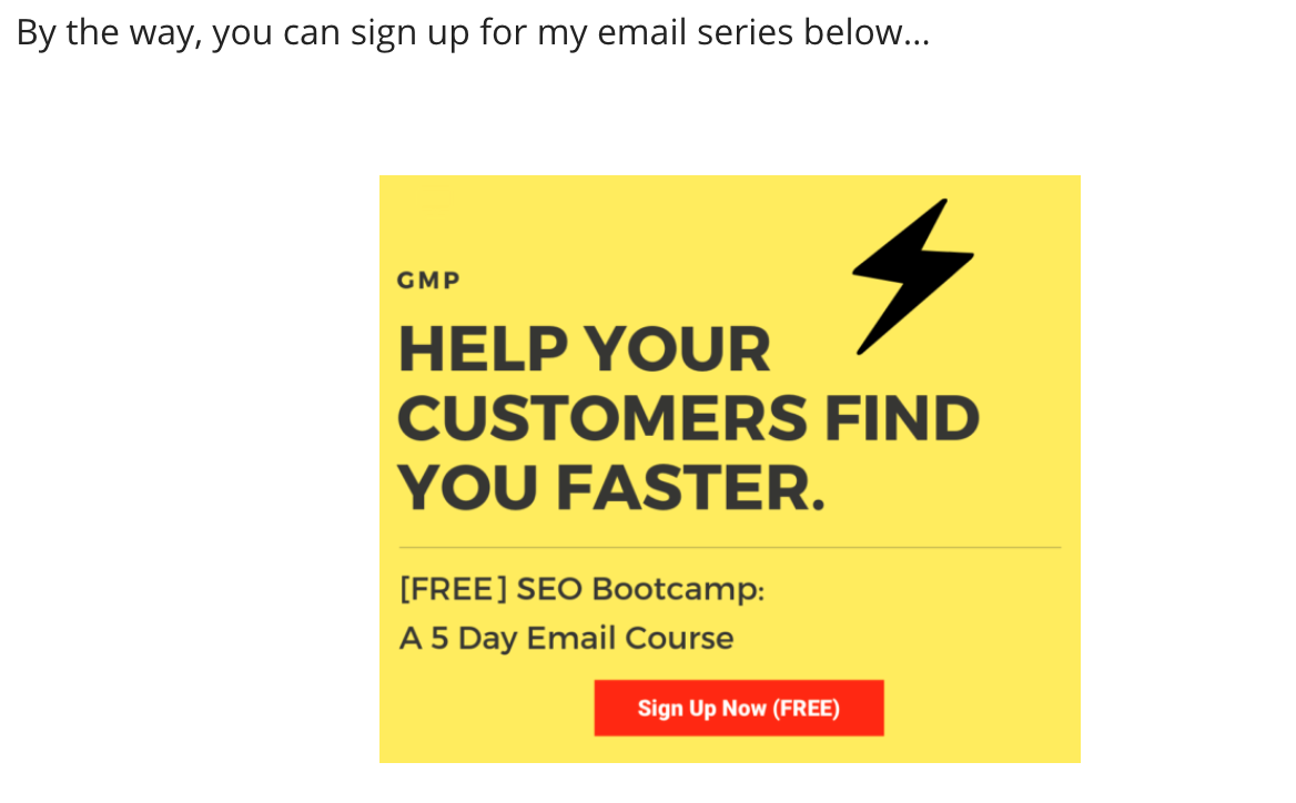 cta button for an email course on growth marketing pro's website
