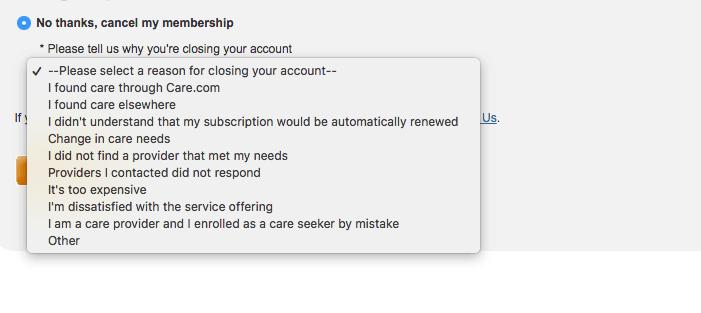 How to delete Care.com account: Menu dropdown with why you are closing account