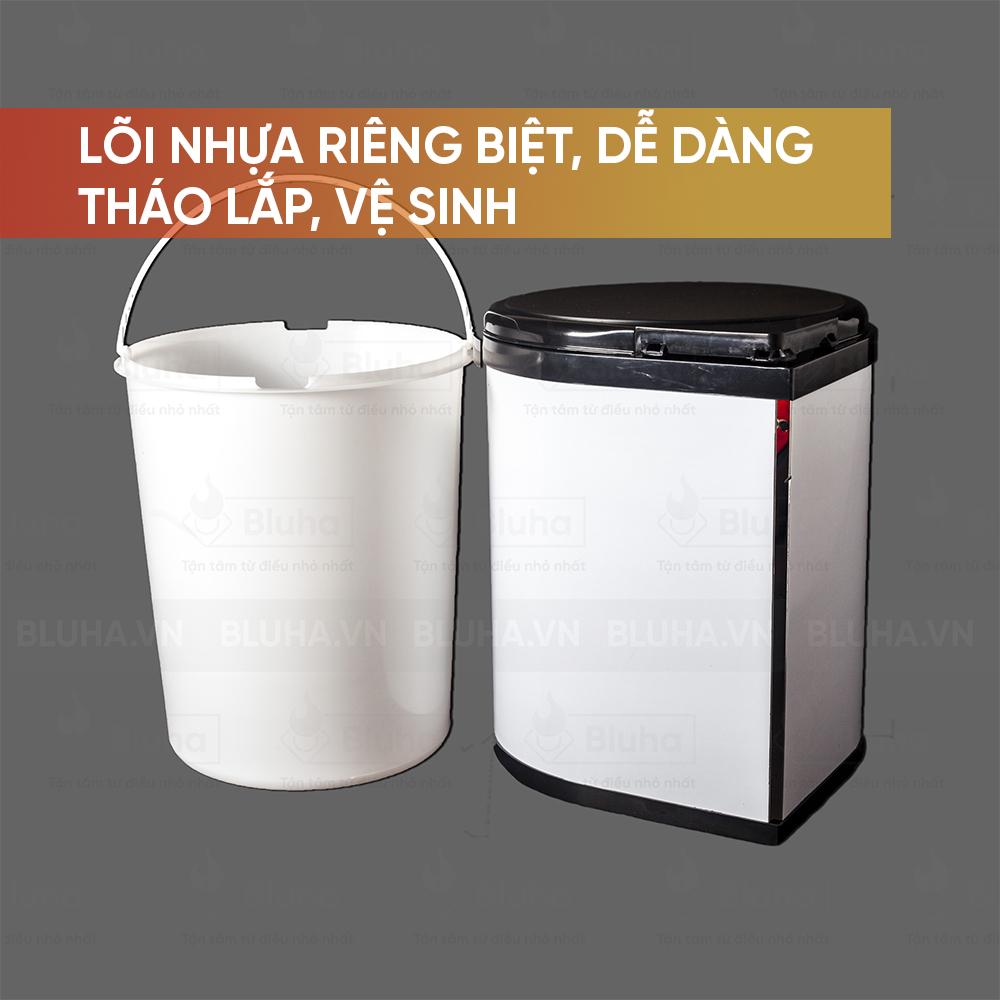Lõi nhựa riêng biệt, dễ dàng tháo lắp, vệ sinh - Thùng rác inox 9L, cánh mở Garis BR01.400 - Phụ kiện bếp chính hãng