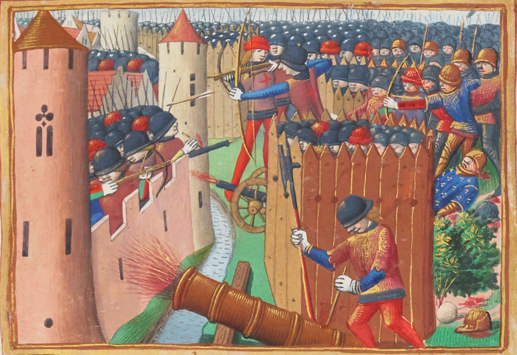 Painting of a battle in the 100 Years' War depicting the use of cannons in a siege.