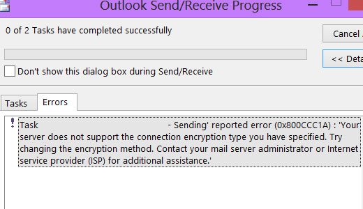 sending reported outlook error 0x800ccc1a