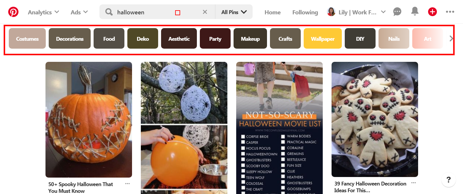 how to find halloween blog post ideas from pinterest search
