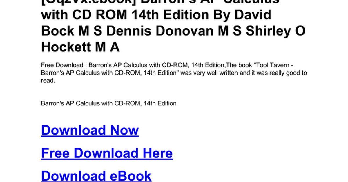 Barron S Ap Calculus With Cd Rom 14th Edition Doc Google Drive