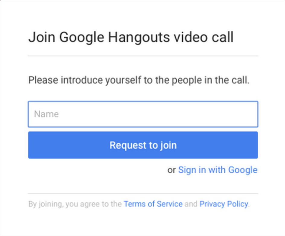 Request to join a Hangouts video call as a guest